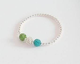 Turquoise, Green & Clear Crystal Bracelet, Silver Beaded Bracelet, Stretch Bracelets, Crystal Bracelet, Stacking Bracelets, Bridesmaid