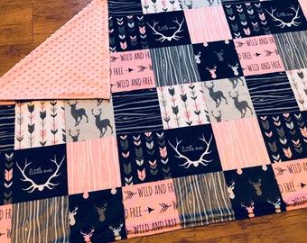 Woodland Girl | Deer | Antlers | Arrows | Wild & Free | Minky Blanket