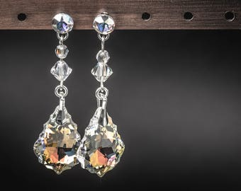Clear elegance 925 sterling silver and swarovski crystals earrings