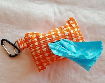 Dog Poop Bag Dispenser - Clip on Style - Orange and White Houndstooth
