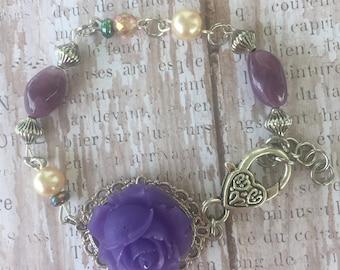 purple flower bracelet