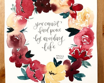 Loose floral wreath | Watercolor | Customizable | Custom quote