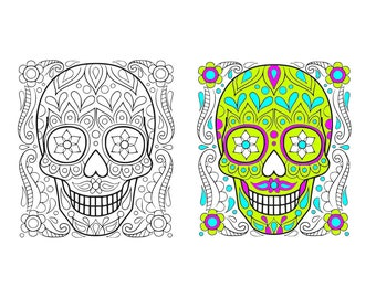 Sugar Skull svg Skull svg Candy Skull DXF Skulls Clipart  SVG Files for Silhouette Cameo or Cricut