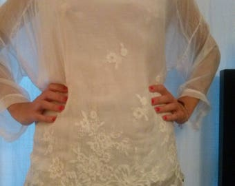 White embroidered silk long sleeve tunic