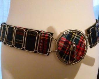 Belt pattern circle thick faux plaid fabric and metal