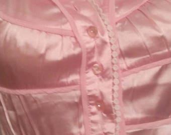 Cream color satin short sleeve blouse