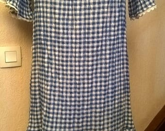 Blue and white gingham and white lace cotton dress
