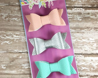 "Hair Bows 3"", Faux Leather Hair Bows, Set of 3, Dainty Bow Tie Hair Bow, Glitter Hair Bow,"
