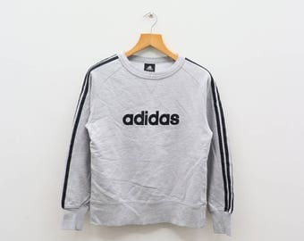 Vintage ADIDAS Triline Big Spell Sportswear Gray Sweater Sweatshirt