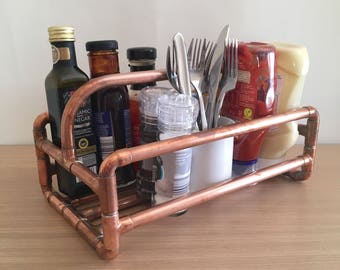 Copper pipe condiments caddy, rustic ketchup & cutlery holder, restaurant table organiser, dining table tidy, bbq gift