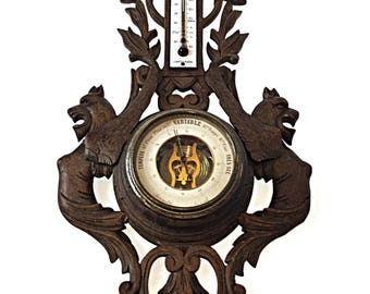 Barometer aneroid thermometer on wood carved gargoyles 19 th