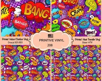 Comic Book bubbles Printed Pattern Vinyl/Siser HTV/ Oracal/ Indoor Vinyl/ Outdoor Vinyl/ Heat Transfer Vinyl-208