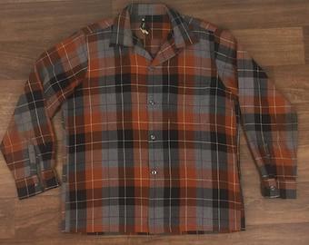 Vintage 50s/60s Arrow Plaid Button Loop Shirt Acrilan/Wool~Sz Med.~Rockabilly