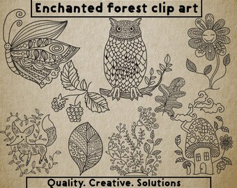 Enchanted Forest Clip Art,Enchanted Forest Vectors,Enchanted Forest SVG,png,Coloring book Clip Art,Forest Clip Art,Forest svg,Animals svg