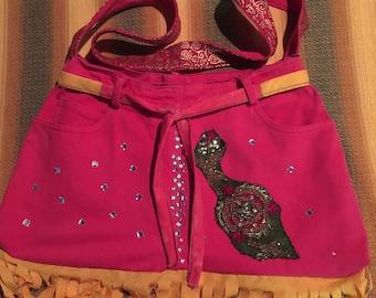 Upcycled handmade hippies shoulder bag