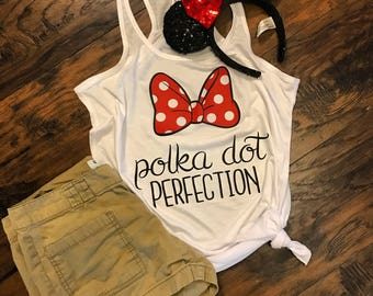 Polka dot perfection Minnie Mouse inspired tank/ Disney shirt