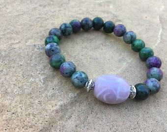 Red Green Ruby Zoisite/Gemstone/Women's bracelet/Women's jewelry/Stackable Bracelet/Healing Bracelet/Healing beads//8mm/Stretch Bracelets