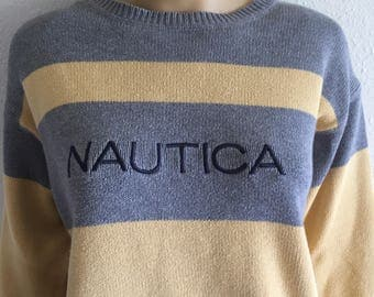 90's Nautica Color Block Yellow Spell Out Sweater