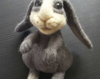 Handmade needle felted rabbit.