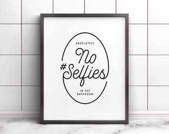 No selfies in the bathroom, Printable art, Bathroom wall decor, Bathroom art, Kids bathroom decor, Bathroom wall art, Funny bathroom sign