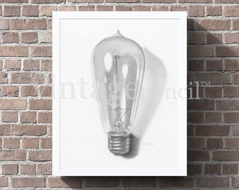 Edison Bulb, Edison Lamp, Edison Light, Industrial Print, Vintage Light Bulb, Industrial Art, Industrial Wall Decor, Printable Industrial