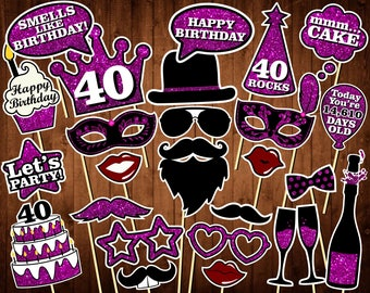 40th Birthday Photo Booth Props - Printable PDF - INSTANT DOWNLOAD - 40th Birthday Party Supplies - Purple Glitter Props