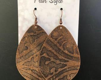 Brown Leather Embossed Earrings