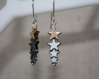 Hematite star earrings