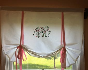 """Lilly Pulitzer Inspired, 39.5""""/38"""" Curtain with elephant and pink Ties Up"""