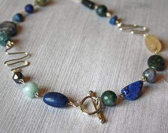 Royal Blues and other Hues-Semi-Precious Beaded Necklace-Toggle Closure-Hand Crafted Wire Accents