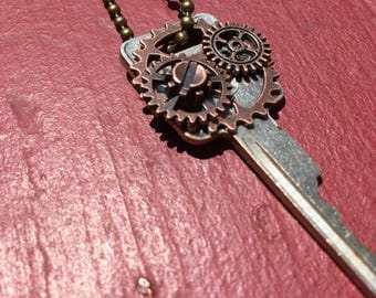 FREE SHIPPING - Rustic Silver key with Brass Gears