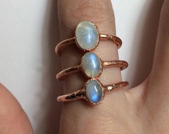 Small Rainbow Moonstone Ring | Electroformed Copper Jewelry | Handmade