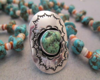 """Big Navajo Sterling & Natural Turquoise Ring> Gorgeous Stamp Work design> 1 1/2"""" long!> So Beautiful> Dead Pawn"""