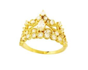 14K Gold Crown Women's Ring Size 7.5