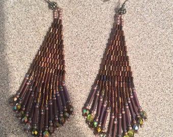 Dark copper earrings