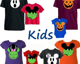 Kids, Halloween Simple, pumpkin, ghost, Halloween, Disney Shirts, Mickey Ears, You pick the size & color, customize, babies, boys, girls