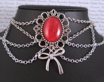 Handpainted red stone and silver chain choker necklace gothic victorian