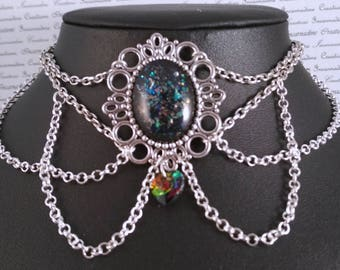 Handpainted black rainbow flakes stone and silver chain choker necklace gothic victorian