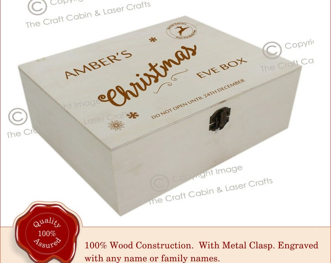 Personalised Wooden Engraved 'Christmas Eve Box'. Family, Couples, Children, Lover's, Baby, Baby's 1st, Prince, Princess, Xmas Eve Gift