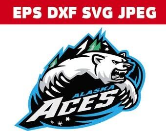 Alaska Aces Logo in SVG / Eps / Dxf / Jpg files INSTANT DOWNLOAD!