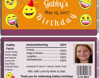 Emoji Birthday Personalized Candy Wrappers for Hersheys Chocolate Bars Party Favors