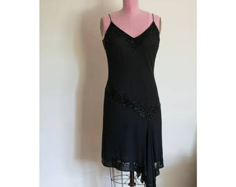 1990s JKara New York black dress with beading