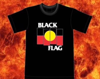 Black Flag X Aboriginal Flag T Shirt (black shirt)