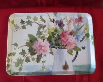 Vintage Judy Buswell Signed Floral Serving 1994 Buswell Floral Tray,Vintage Floral Serving Tray, Serving Tray,Vintage Tray, Serving Tray