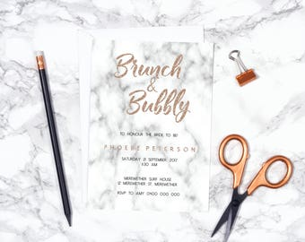 Marble Rose Gold Hens | Bridal Shower | Brunch invitation