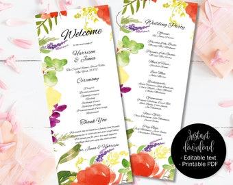 Wedding Day Program Template, Printable Wedding Program, Wedding Order of Service Text Editable PDF, Watercolor Floral Border 2 PROG-2