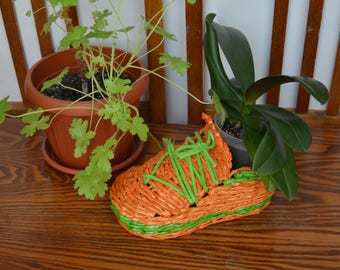 Wicker planter / Flowerpot / Wicker boot / Wicker plant pot / Home decor