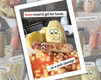 Funny photographic potato and sausage personalised greetings card