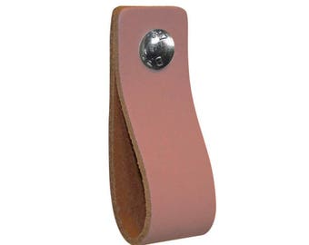 Leather furniture handle,color:old rose,kitchen pulls,leather loops,dresser,cabinet,garden items,babyroom pulls,beautifully finished