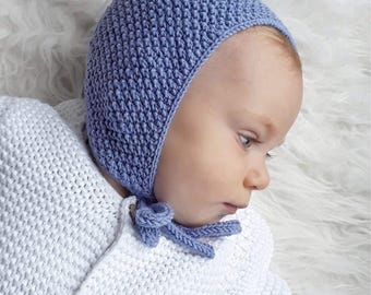 Jeans blue knitted bonnet Gender neutral baby girl baby boy bonnet Vintage style baby hat Knitted baby boy bonnet Blue hat baby boy